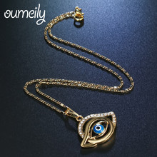 OUMEILY Blue Eye Necklaces Pendants Vintage Lucky Fashion Turkish Jewelry Men Women Gold Color Lmitation Crystal Gift(China)