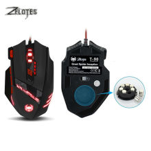 Zelotes T90 USB Wired Computer mouse Optical Game Mause 9200DPI 8 Buttons Weight Tuning Set LED Gaming Mice for Laptop PC Gamer