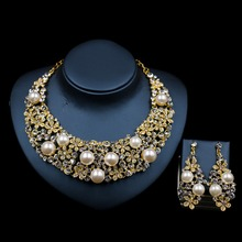 2017 new LAN PALACE simulated pearl jewellery sets for women engagement necklace and earrings crystal wedding  free shipping