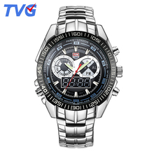 TVG 2017 Military Men Sports Watches Quartz Analog LED Watch Wristwatch Stainless Steel Clock Men Army Relogios Masculino