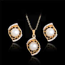 Atreus Fashion Womens Simulated Pearl Austrian Crystal Unique Jewelry Set Gold Color Pendant Necklace Stud Earring Jewelry Gift