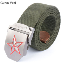 3D Red Star Automatic Buckle Belts Fashion  Men's Canvas Belts Male Casual Strap Waist of Trousers Luxury Belt 110 140CM