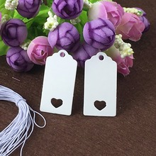White Paper 4x2cm Small Price Tags Blank Hang Gift Tag With Heart Hole Retro DIY Garment Tags Label  200pcs Tags+200pcs Strings