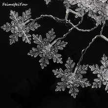 Feimefeiyou Waterproof 5M 216 LED Snowflake 8 Modes String Fairy Light for Christmas New Year Festival Wedding Eaves Decoration(China)