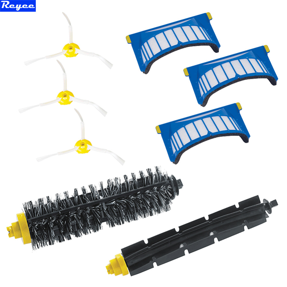 Total 8Pcs a Pack New Aero Vac Filter + Flexible Beater Brushes 3 armed Side for iRobot Roomba 600 Series 620 630 650 660<br><br>Aliexpress