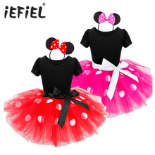 IEFIEL Kids New Year Gift Minnie Mouse Fantasia Infantil Party Fancy Costume Cosplay Girls Ballet Tutu Dress+Ear Headband 12M-8Y