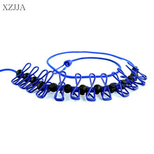XZJJA Portable Multifunctional Clothes Pegs Drying Rack Clips Laundry Hangers Iron Wire Clothes Line Clamps Clothespins 185CM(China)