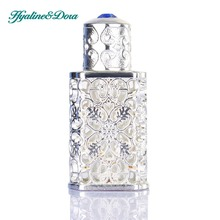 Silver Women Perfume Bottle Antiqued Style Retro Hollow Flower Inlaid With Blue glass Empty Perfume Container Wedding decoration(China)