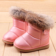 Children's Boots Kids Rubber Boots Winter Children Thicken Plush Snow Boots Child Warm Leather Short Baby Infant white shoe
