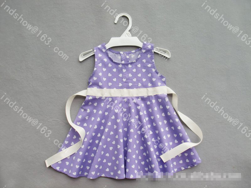 Summer Baby Girls Dress Casual Heart Print pattern Princess Dress Sleeveless purple Vest Dress Lace Belt Flowers girl dresses(China)