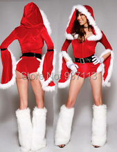 New Year Unique Design Sexy Christmas Outfits Women Thicken Villi Costumes Petal Long Sleeves Bodycon Jumpsuits On Santa Party(China)