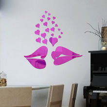 3D DIY lover kissing wall mirror sticker wall decoration 1MM thick PS plastic mirror sticker mirror home decor mirror decal(China)