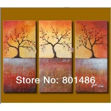 Free shipping! 3 panels landscape trees art painting No Frame handpainted Artworks for home Decoration