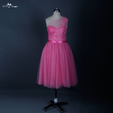 RSE616 Real Sample Knee Length Short Junior Pink Bridesmaid Dress(China)