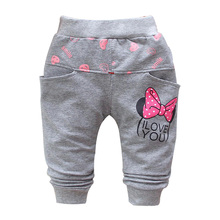 2015 autumn new cotton Cartoon cute butterfly pattern baby pants baby girls leggings 0-3 year baby harem pants(China)