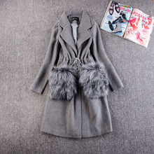 My New In Wool Coat Women 2017 Autumn Winter Casual Overcoat Fur Pocket Parkas Plus Size 3XL High Quality Woolen Jacket(China)