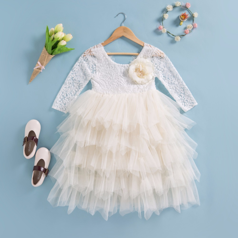 Everweekend Princess Baby Girls Tutu Cake Lace Party Dress Multi Color Cute Children Fashion Birthday Holiday Dresses<br>