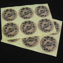 Round 3CM stickers Merry Christmas Gift Packing kraft paper label, For baking package box / bags / cup seal label 100pcs/lot