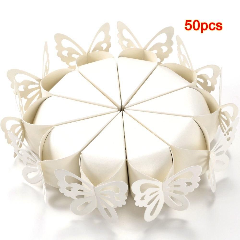 CCUCKY 25 Piezas Caja de Dulces de Mariposa Duchas Nupciales Fiestas Regalos Decoraci/ón de Mesa Blanco Favores de Boda Cajas de Az/úcar
