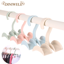 DINIWELL Rotated Storage Rack Bag Hanger Without Punch Clothes Plastic Rack Creative Tie Coat Closet Hanger Wardrobe Organzier(China)