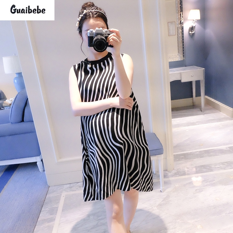 GUAIBEBE 2017 New Summer Fashion Maternity Temperament Loose Korean European Style Dress Chiffon Zebra Size Maternity Dresses<br>
