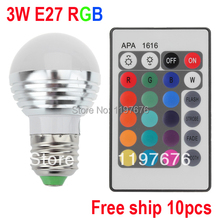 GU10 MR16 E14 B22 E27 3W AC100-240V led Bulb Lamp with Remote Control multiple colour led lighting free shipping
