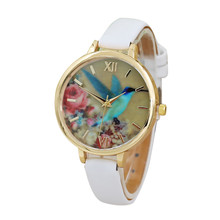 Watch Female Clock Women Watches Blue Hummingbird Pattern PU Leather Analog Bracelet Dress Reloj Mujer Montre Femme