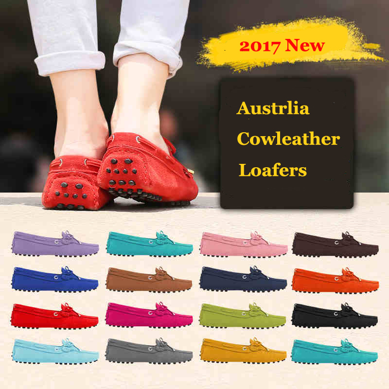 2017 Womens Fashion Loafers Butterfly-knot Casual Shoes Cow leather Flats size 35-40<br><br>Aliexpress