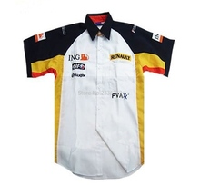 White MOTO GP motorcycle road race racer short sleeve shirt for Renault f1 fashion driver team loose shirts(China)