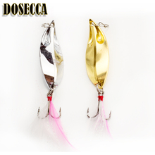Fishing Lure Spoon Bait 5g 10g 15g Artificial Lures Spinner Lure Metal Bait Fishing Tackle Armed With Feather Hook(China)