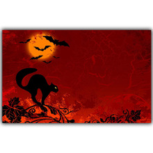 Halloween Poster Pumpkins, Black Cat, Witch's Broom Modern Cartoon Art Picture For Home Decoration Silk Poster and Prints QT067
