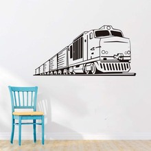 Diy Long Train Wall Decal Removable Vinyl Adhesive Wall Murals Cartoon Traffic Decals Wallpaper Window Wall Stickers(China)