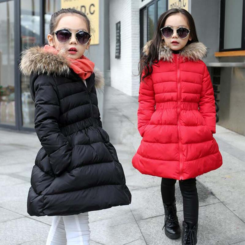 fashion fur collar Children's down jackets white Duck Down Jackets girls long warm down coats quality girls down outwear 5-12Y
