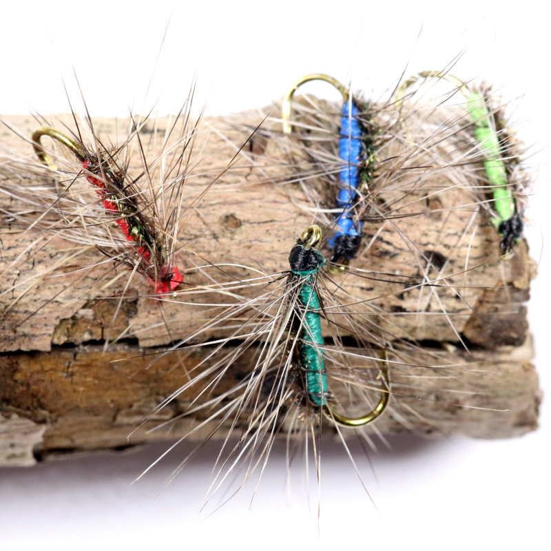Bimoo 24PCS #12 Crackleback Gnat Fly Trout Fishing Dry Flies Peacock Herl Back Red Green Chartreuse Blue Color(China (Mainland))