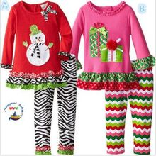 New Fashion Childrens Girls Boutique Outfits Clothing Sets Christmas Santa Long Sleeve Tops+Ruffle Pants Suits