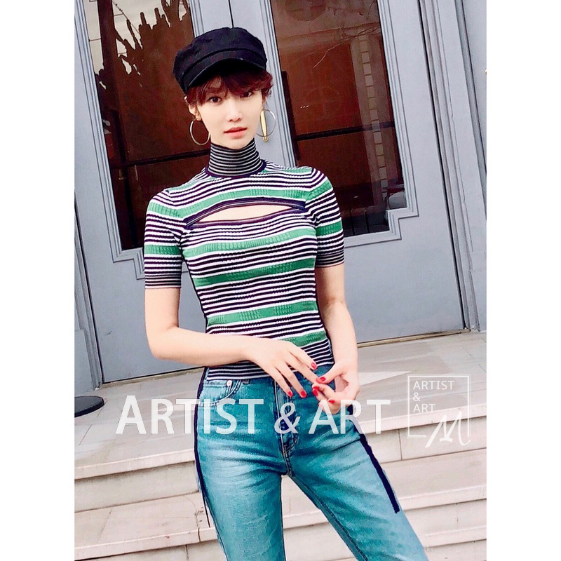 New Style 2018 Women Summer Knit Top Eleagnt Turtleneck Short Sleeve Hollow Out Sexy Clothes Fashion Striped Lace Up Bodycon Top