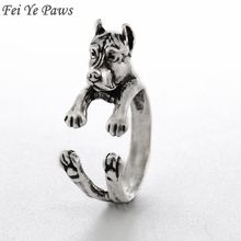 Fei Ye Paws Vintage Pit Bull Puppy Ring Anel Retro Pitbull Dog Ring Animal Rings For Women Men Jewelry Unique Christmas Gift
