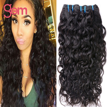 Indian Water Wave Wet and Wavy Remy Human Hair Indian Virgin Hair 4 Bundle Gem Beauty Supply Raw Virgin Indian Hair Weave Sale