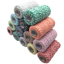 1 Roll 100 Metres 2Ply Cotton Bakers Twine String Cord Rope Rustic Country Craft 16 Colors AA7644(China)