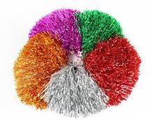 10pcs/lot 50g Dance Sport Supplies Competition Cheerleading Pom Poms PET Hand Flowers Party Cheering Fancy Pom Poms(China)