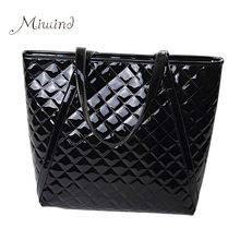 Women Bag Handbags Tote Over Shoulder Sling Summer Leather Black Big Patent Female Bolsas Shopping Fashion Patent Luxury Brand(China)