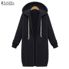 Oversized 2017 Autumn ZANZEA Women Casual Long Hoodies Sweatshirt Coat Pockets Zip Up Outerwear Hooded Jacket Plus Size Tops(China)