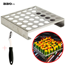 Hot 8.8''Large Stainless steel jalapeno Pepper Grill Rack 36 Holes Grilling Pepper Roasting Rack Jalapeno Popper Holder BBQ Tool(China)