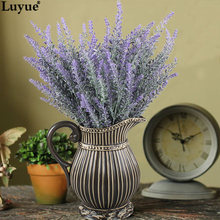 Luyue 3pcs Artificial Flocked Lavender Bouquet in Purple Flowers Arrangements Bridal Home DIY Floor Garden Office Wedding Decor(China)