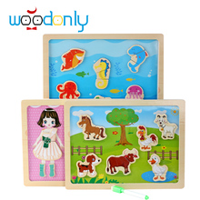 Multifunctional Wooden Toys Educational Baby Magnetic Puzzle Cartoon Marine Farms Children Kids Jigsaw Baby Drawing Sketchpad