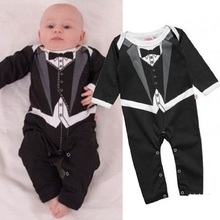 2016 Autumn Long Baby Rompers Tuxedo Costumes Baby Clothes Infant Jumpsuits Black Handsome Baby Boys Clothing Cotton Outfits