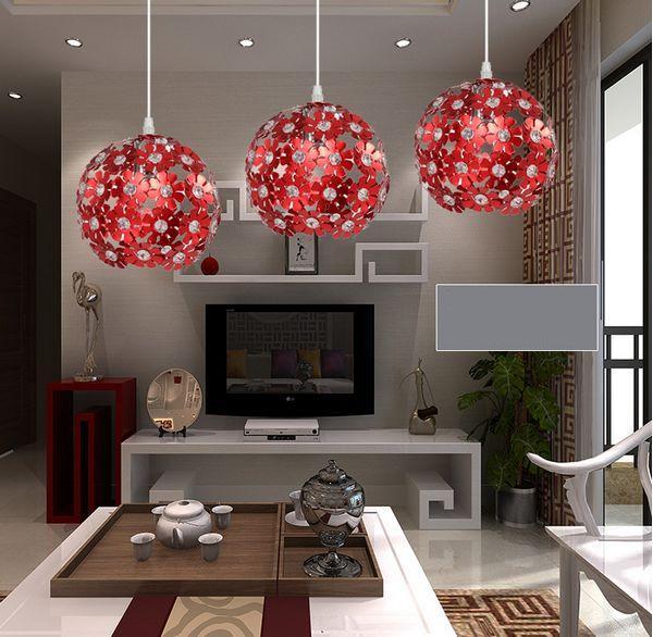 Modern aluminium petal Multi-Color crystal Pendant Light Suspension Lamp Dining room Kitchen bar Lighting<br>