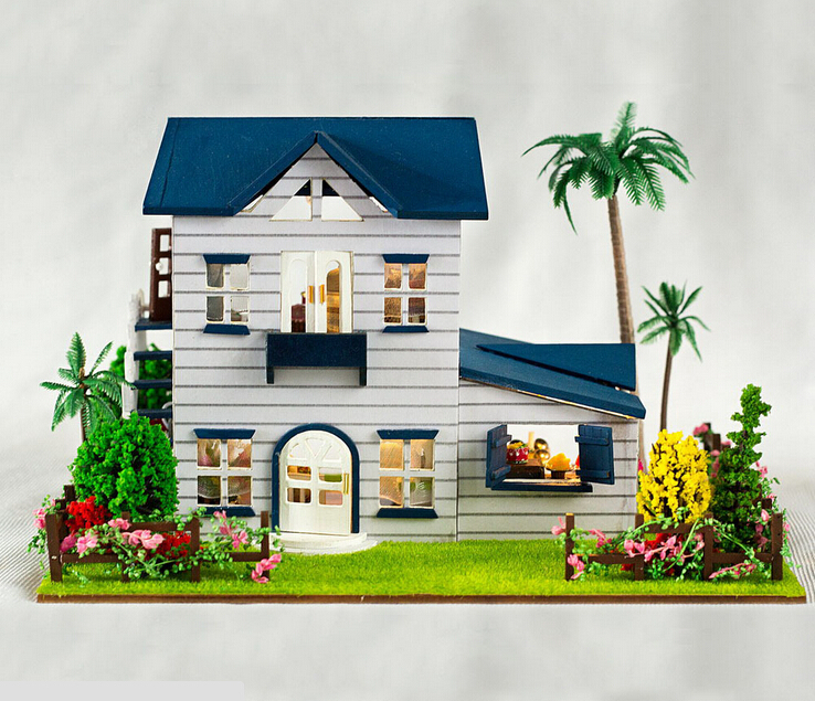 13015 Holiday home wooden doll house with lights 3d handmade diy dolls house miniature accessories dollhouse free shipping<br><br>Aliexpress