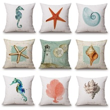 Watercolor Sea Horse Cushion Covers Coral Sandy Beach Marine Life Beige Pillow Cases Thin Linen Cotton Bedroom Sofa Decoration