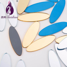 Taidian Acrylic Sheet DIY Clothing Accessories Acrylic Mirror Cabochons Slabs With A Resist Film 12*38mm 50pcs/lot Oval Shape(China)